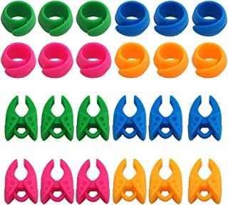 24 pcs Thread Spool Huggers, FineGood Bobbin Holder Clamp Clips Keeping Bobbin Thread Tails Under Control No Loose Ends - Pink, Green, Blue, Orange