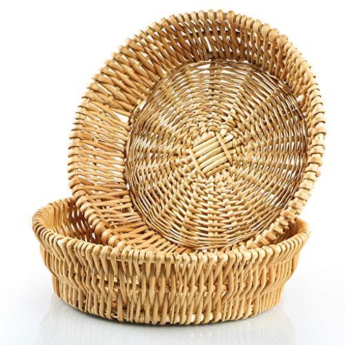 MDLUU Hand-woven Basket, Wicker Basket, Willow Basket, Food Serving Basket for Bread, Fruit, Vegetable Storage, Gift Basket, Pack of 2