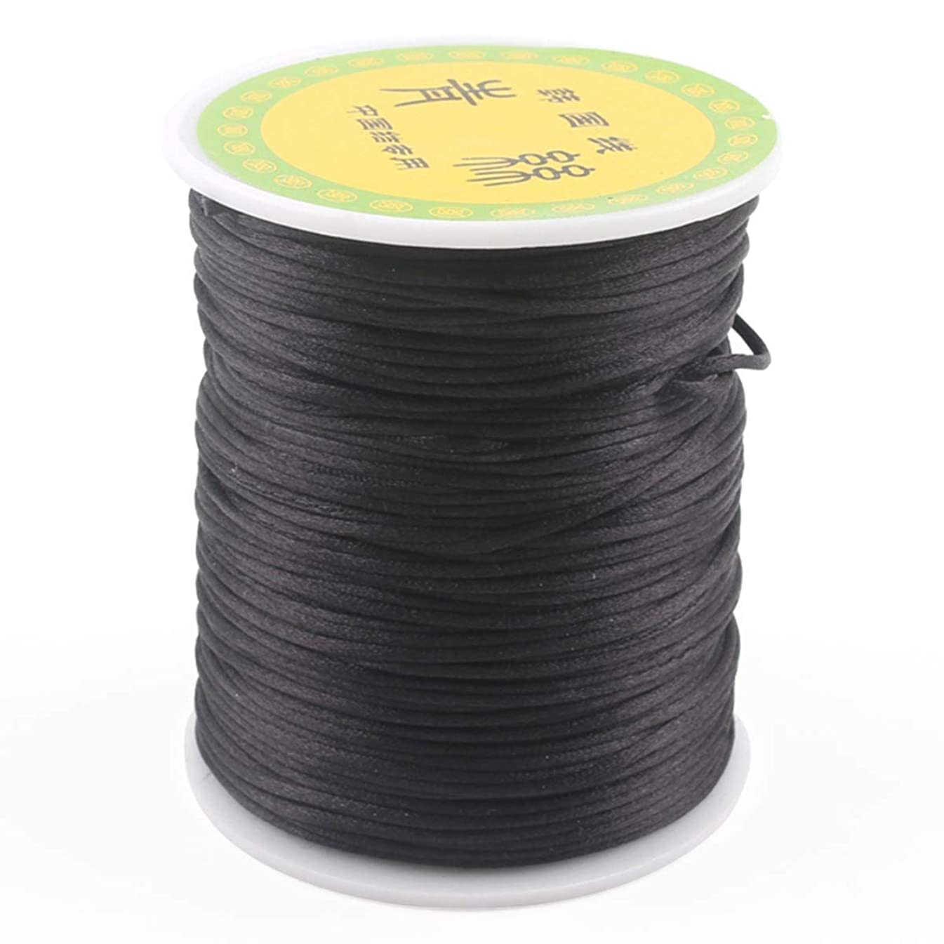 HAO JIE Balck 1mm 75m Satin/Rattail Silk Nylon Cord for Braided Necklace Bracelet Beading Jewelry Making Accessory