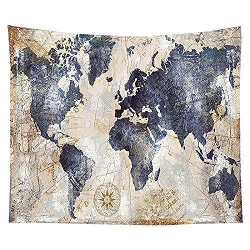 KHKJ La Imagen del cráneo Tapiz Tapiz de Pared Mapa del Mundo Marino Escena de fantasía Decoración para Colgar en la Pared para Dormitorio Decoración para el hogar A7 150x130cm