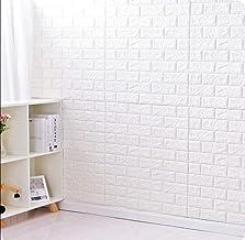 ورق جدران مقاوم للماء بتصميم الطوب ثلاثي الابعاد، عبوة من 12، لون ابيض، مقاس 77 * 70 سم