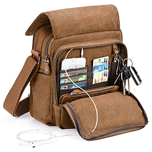 Plambag Kleine Umhängetasche Herren 9.7Zoll Ipad, Canvas Messenger Bag Herren Tasche Crossbody Bag für Tägliches Leben Reise (Kaffee)
