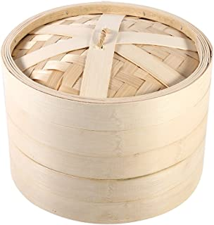 4 Sizes 2 Tiers Bamboo Steamer Basket Chinese Natural Cookin