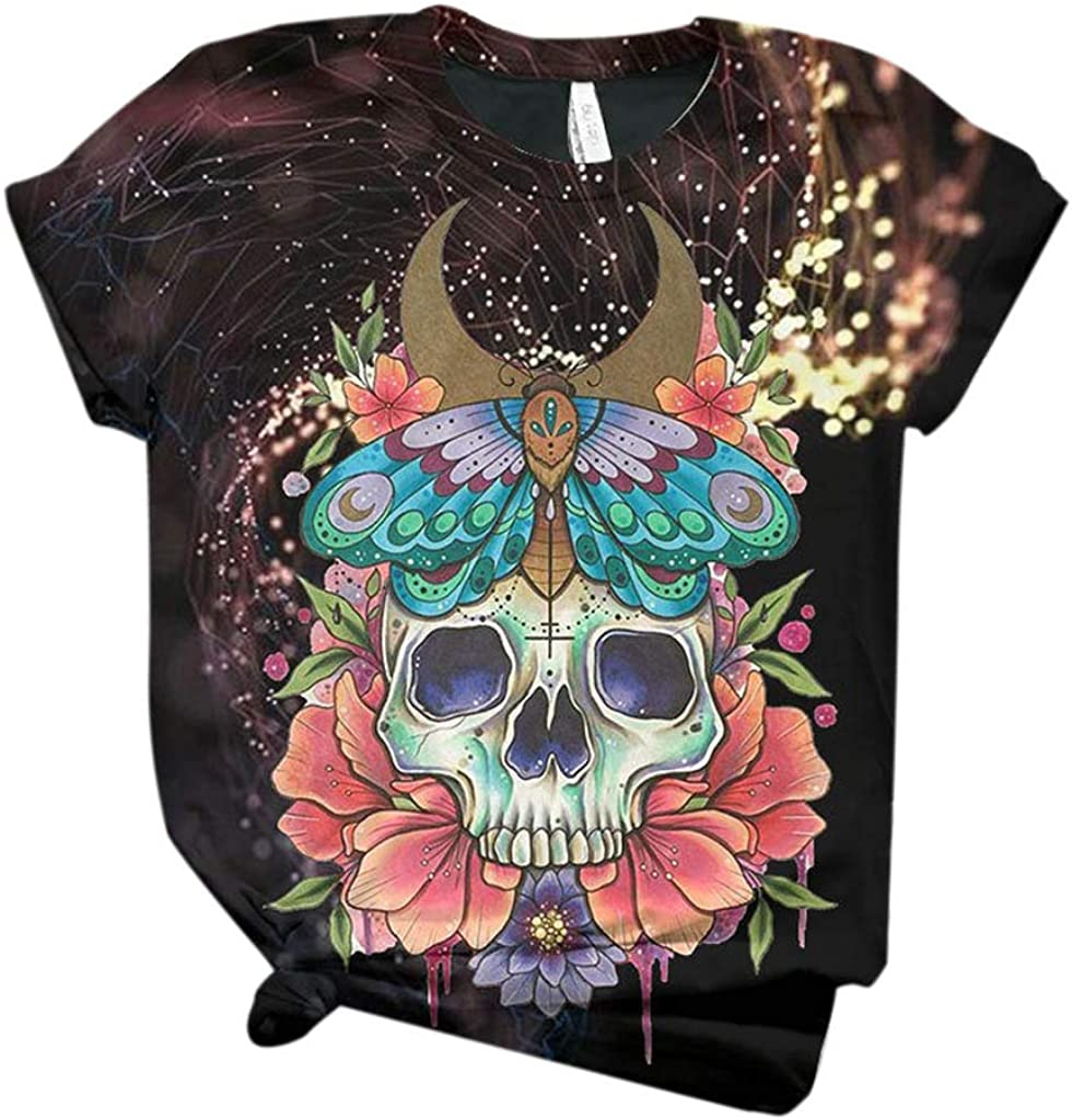 Womens T Shirts 3D Flower Skull Printed Graphic Tees Summer Short Sleeve Tops T-Shirt Tunics O-Neck Casual Blouses 2021