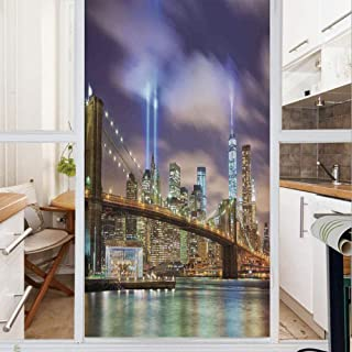Decorative Window Film,No Glue Frosted Privacy Film,Stained Glass Door Film,Manhattan Skyline with Brooklyn Bridge and Towers of Lights in NYC United States,for Home & Office,23.6In. by 47.2In Puple G