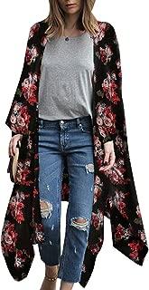 Women's Sheer Chiffon Blouse Loose Tops Kimono Floral Print Cardigan