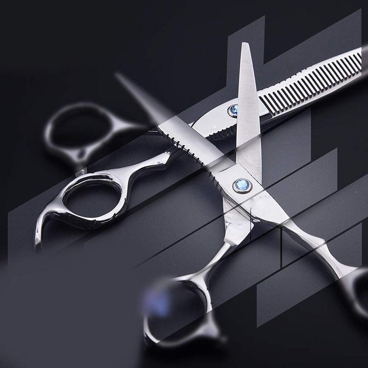好き影のあるつばJiabei 6.0インチの花のハンドルの専門の理髪はさみ、平らな+歯のせん断理髪はさみ用具はさみ (色 : Silver)
