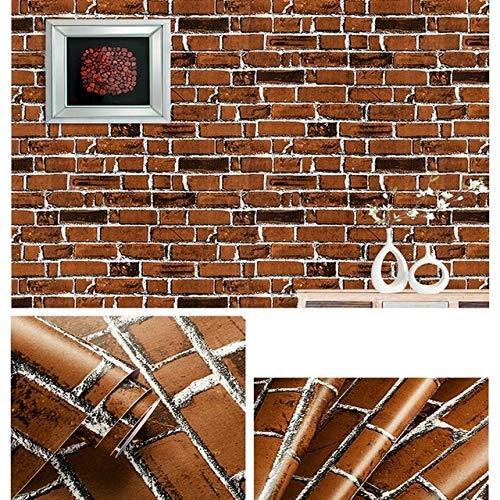 jidan Brick 3D Moderne Tapeten wasserdicht Selbstklebende PVC-Tapeten for Einrichtung (Color : Brown, Dimensions : 10mx45cm)