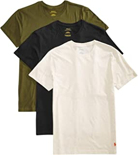 Polo Men's 3-Pk Classic Crew-Neck Shirts Oatmeal HTHR/Fall Olive/Polo Blk Medium