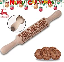 Christmas Wooden Rolling Pins - Deeply Engraved Embossing Rolling Pin with Christmas Deer Pattern for Baking Embossed Cookies,Rolling Pin Kitchen Tool (14 inch)