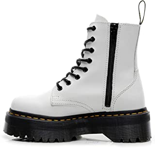 Dr. Martin unisex boots Thick bottom 8-hole Martin boots side zipper British short boots lace-up bottom lace-up tooling boots Waterproof and anti-skid design (Color : White, Size : 36)