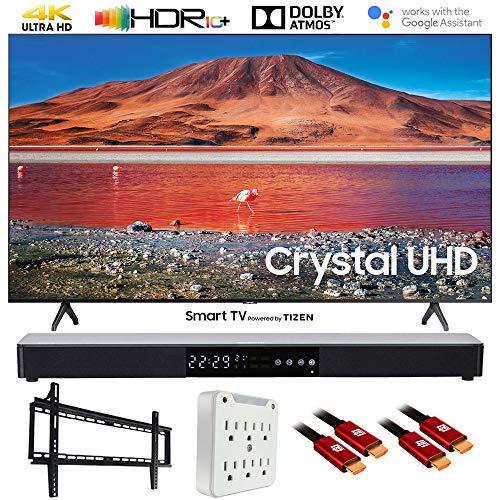 """SAMSUNG UN65TU7000 65"""" 4K Ultra HD Smart LED TV (2020) with Deco Gear Soundbar Bundle"""