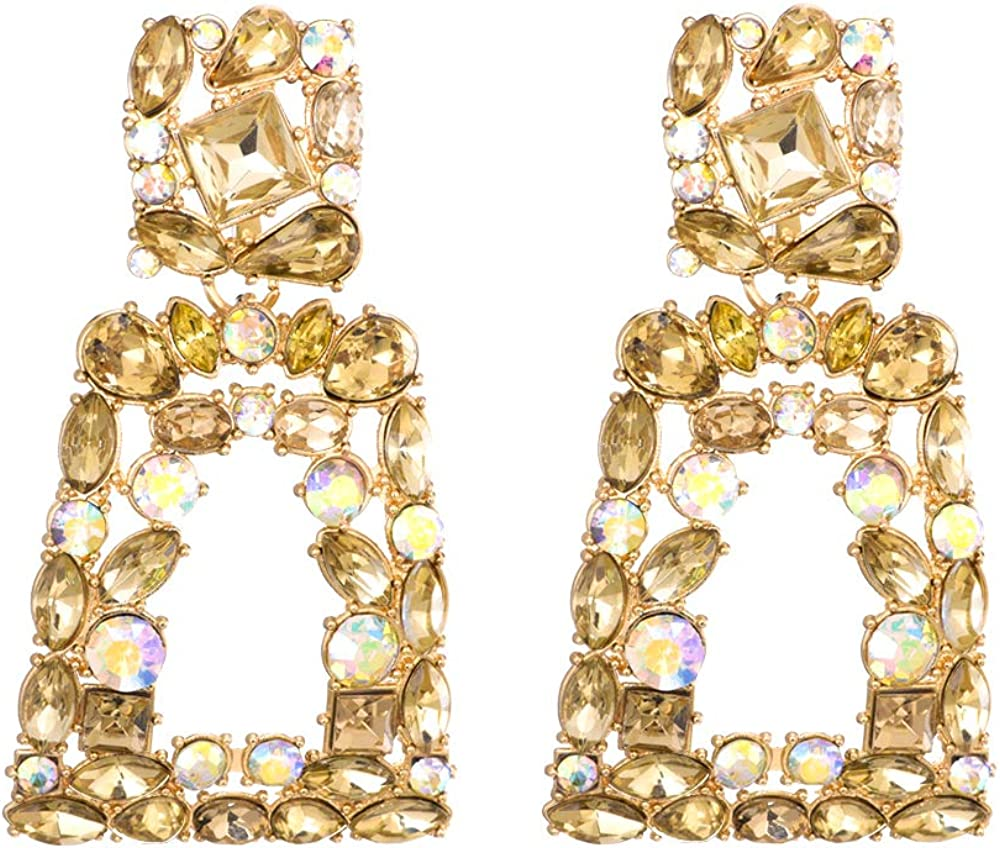 Rhinestone Rectangle Dangle Earrings for Women Sparkly Crystal Geometric Drop Statement Earrings KELMALL COLLECTION