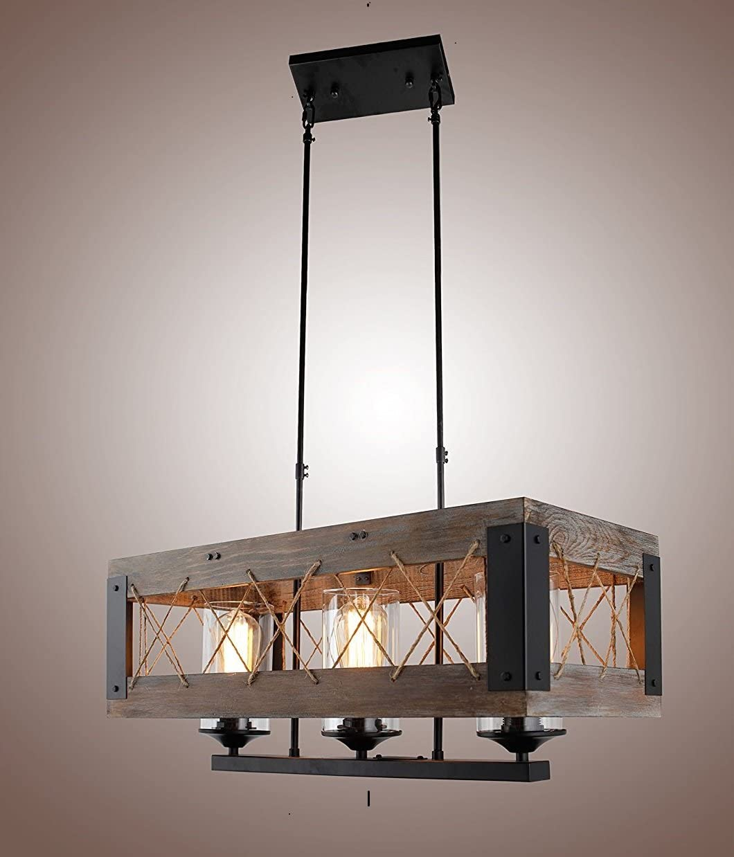Price reduction Decomust Wood Rectangular Credence Pendant Chande Hanging Island Kitchen