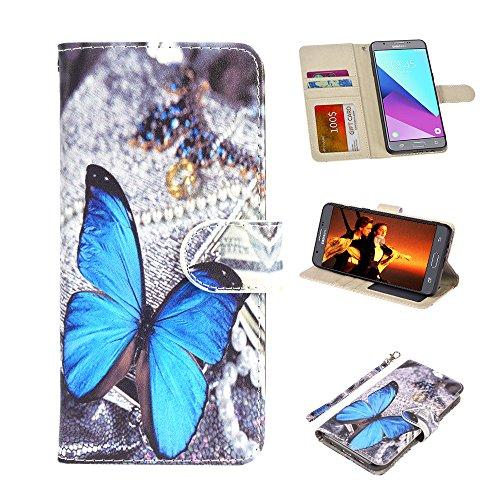 UrSpeedtekLive J7 Sky Pro Schutzhülle, Galaxy Halo / J7 V / J7 Prime Klapphülle aus PU-Leder mit Kartenfächern, Handgelenkschlaufe, Magnetverschluss für Samsung Galaxy J7 2017, Schmetterling
