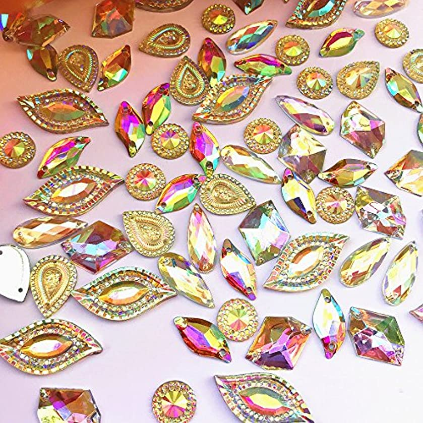 Multi Sizes Big Resin Beads Sew on Flatback AB Crystal Rhinestone 60pcs of for Wedding Dress Clothes Jewelry DIY Scrapbook