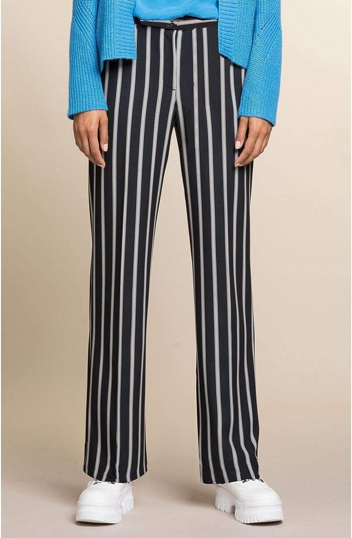 Bianca Pantalon Coupe Droite à Rayures Original