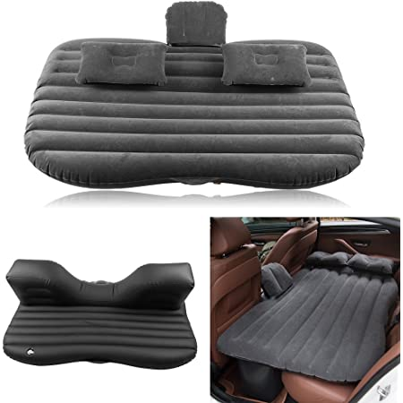 Qiilu Portable Travel Inflatable Air Bed Truck Universal for SUV Cars Sedans and Mini Van Back Seat Camping Rest Sleep Mattress Cushion