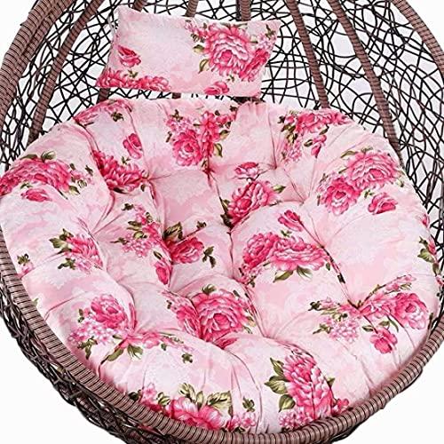 Cojín colgante para silla, cojín de silla de huevo solamente, cojín de silla de hamaca al aire libre con almohada, cojines gruesos lavables Papasan silla, cojín de ratán de repuesto para silla Petal 3