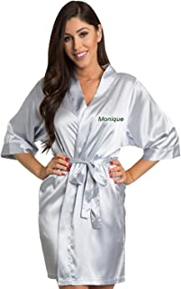 5338e2f3b5 Zynotti Women s Personalized Embroidered Name Satin Robe - Custom Bridal  and Bridesmaid Kimono Robes- Wedding