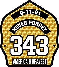 Firefighter 911 Never Forget 343 Gold Leaf look Decal Vinyl Sticker 4