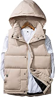 Men Quilted Gilet Padded Puffer Bubble Sleeveless Hooded Jacket Hoodie Waistcoat