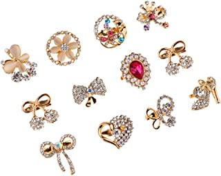 F Fityle 12Pcs Insect Butterfly Brooch Flower Bowknot Heart Shape Brooch Pins for Women Lady Clothing Accessories
