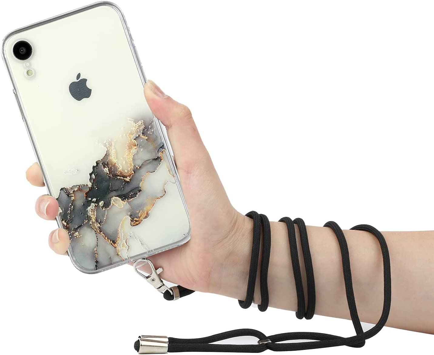 Compatible for iPhone XR Case with a Crossbody Belt Adjustable Necklace Case Painted Lanyard TPU Protective Cover Suitable for iPhone XR,Black