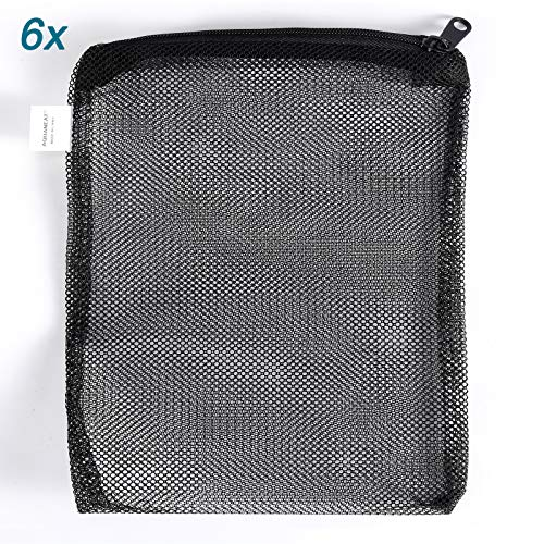 "AQUANEAT Filter Media Mesh Bags Plastic Zipper Reusable for Aquarium Fish Tank koi Pond (16""x13"" (6pcs))"