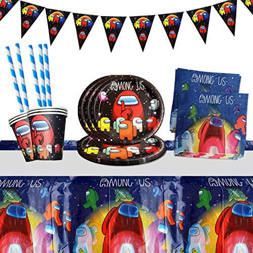 Yisscen Juego de vajilla para fiestas, decoración de cumpleaños para niños, fiestas de cumpleaños infantiles, platos, tazas, servilletas, manteles, pajitas, banners (52 piezas)