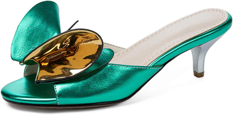 EnllerviiD Gifts Women's Kitten Heel Mules O Max 86% OFF Sandals Slip Cute Bowknot