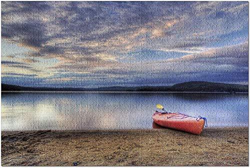 YYTOOF HD Rotes Kajak am Strand (Premium 500-teiliges Puzzle für Erwachsene 52*38 cm Made in USA!)