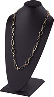 Tall Black Faux Leather Necklace Display - 18