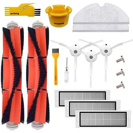 Aoteng Kit de accesorios para Xiaomi Mi Robot Roborock S50 S51 S5 S6 E25 E20 E35 Xiaomi Mijia Robotic Aspiradora Piezas de repuesto 14 pcs Pack de cepillo principal & cepillo lateral & Filtro & Paño de fregona
