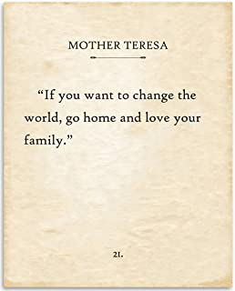 Mother Teresa - If You Want To Change The World - 11x14 Unframed Typography Book Page Print - Great Inspirational and Motivational Gift and Decor Under $15