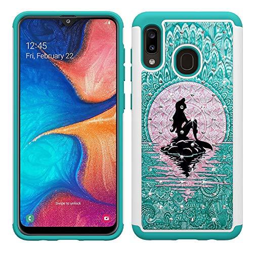 Galaxy A20 Case, Galaxy A30 Case for Girls Women, Cute Mermaid with Moon Pattern Heavy Duty Shockproof Studded Rhinestone Crystal Bling Hybrid Case Silicone Armor for Samsung Galaxy Galaxy A20 / A30