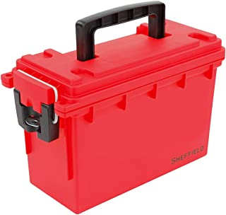 Sheffield 12636 Plastic Storage Bin | Locking Ammo Case, Toy Organizer, or First Aid Kit | Water Resistant & Tamper-Proof, with 3 Locking Options | Interlocking Stackable Design| USA Made | Red