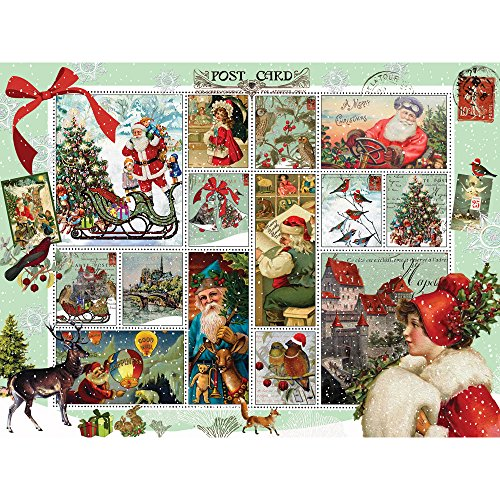 Bits and Pieces - 500 Piece Jigsaw Puzzle for Adults - Vintage Christmas - 500 pc Holiday Postcard Jigsaw by Artist Finchley Paper Arts Ltd.
