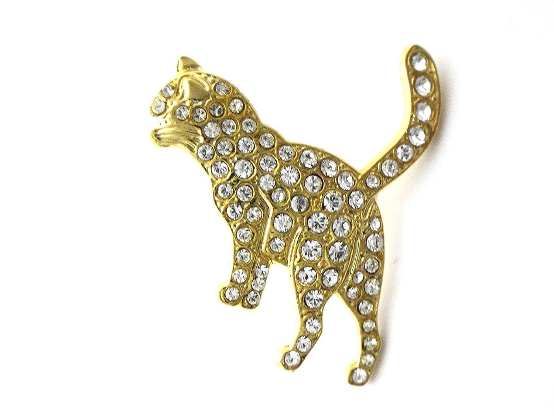 [サクセサリー] successory 日本製 スワロフスキー ピンバッジ ブローチ しのび 猫 ねこ ゴールド