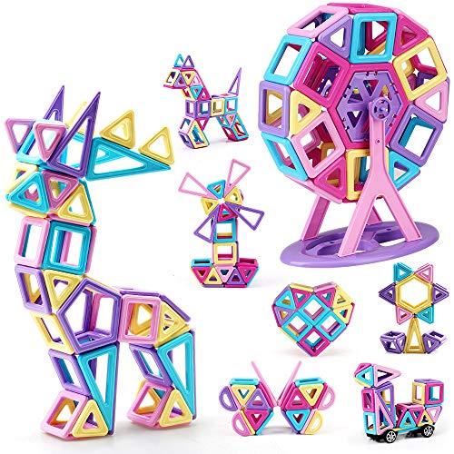 Bloques de construcción magnéticos, Encima132 Piezas Juegos de Viaje Construcciones Magneticas Kits de apilamiento Juguetes, niños Juguetes Regalo para 3 4 5 6 años Niños y niñas