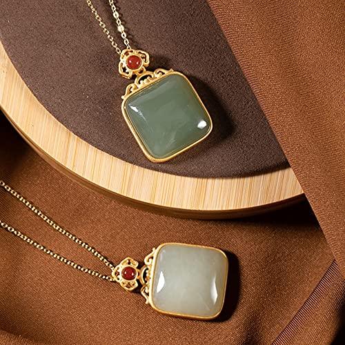 YUNHE Collar con Colgante de Jaspe de Jade de Hetian Natural, Cadena chapada en Oro de Plata de Ley 925, diseñador de joyería Fina, Collar Vintage, Fiesta