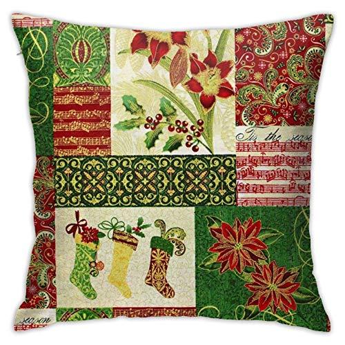Fundas de almohada de algodón y poliéster con elementos navideños, fundas de almohada para sofá, decoración del hogar, 45,7 x 18 pulgadas