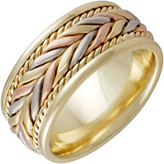 14K Tri Color Gold Braided Fern Style Men's Comfort Fit Wedding Band (8mm)