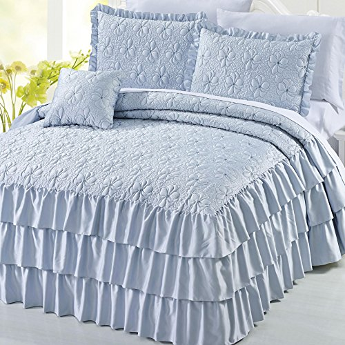 Serenta 4 Piece Matte Satin Ruffle Quilted Bedspread Set, King, Light Blue