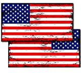 IT'S A SKIN Distressed American Flags Decals Stickers (2-Pack) American Tactical Military USA Jeep Truck Off-Road 5.5' Wide Vinyl Red White Blue Color Tattered