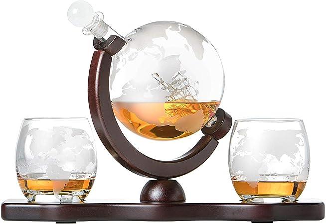 polar-effekt Juego de jarra de cristal para whisky, con mapa del mundo grabado, 2 vasos de whisky – Botella con cierre hermético – Decantador de 850 ...