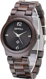 Bewell Wooden Watches for Women Analog Quartz Minimalist Wristwatch Lady with Wood Bracelet