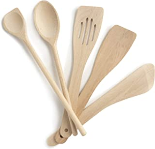 Wooden kitchen utensils, Set of 5, complete set, Made in EU, 1 large sauce spoon 30cm, 1 mortise spatula 30cm, 1 bevelled ...