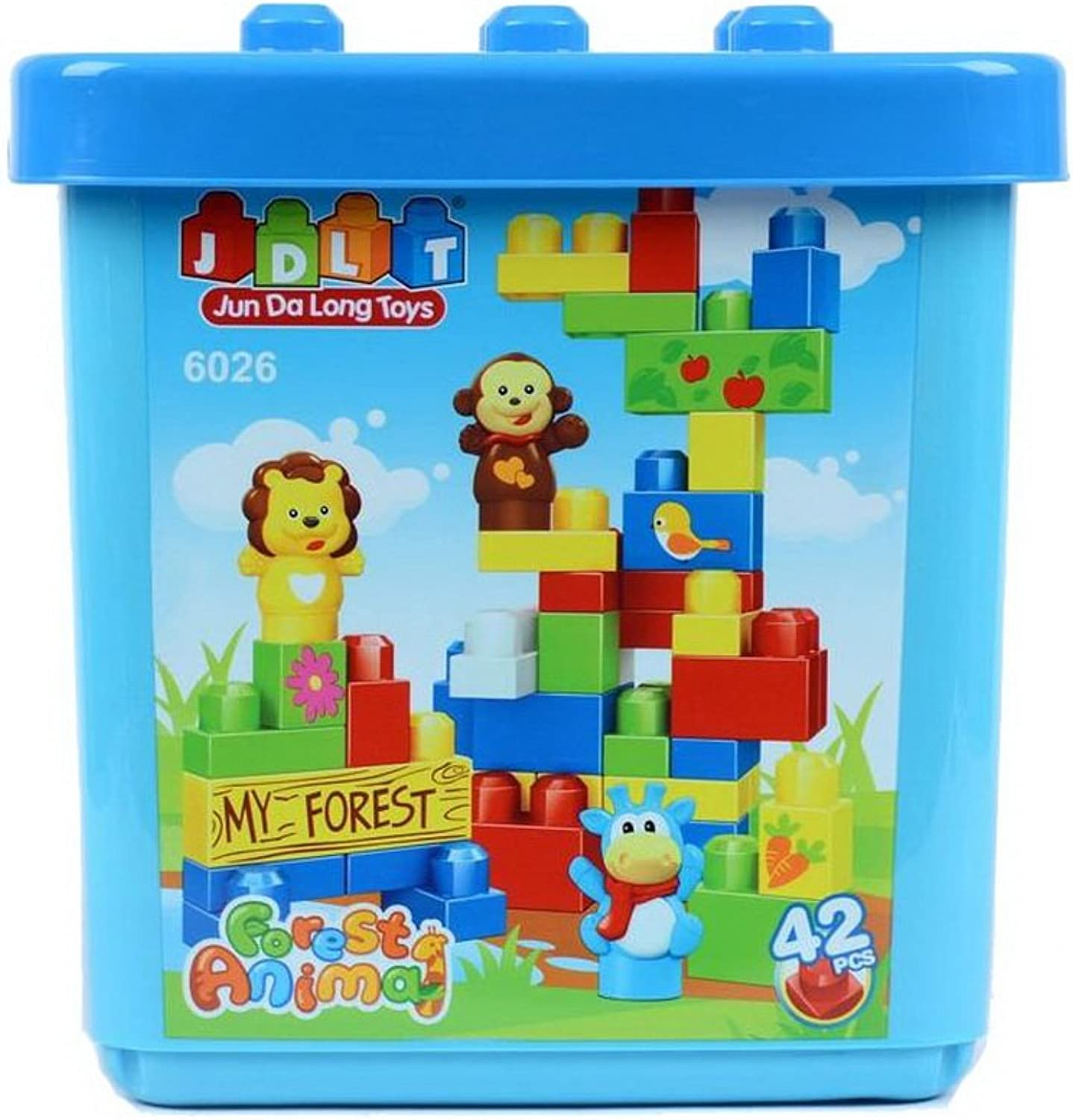 Infant Big Building Blocks with Holder, 42 PCS, Pre School Toys blueE