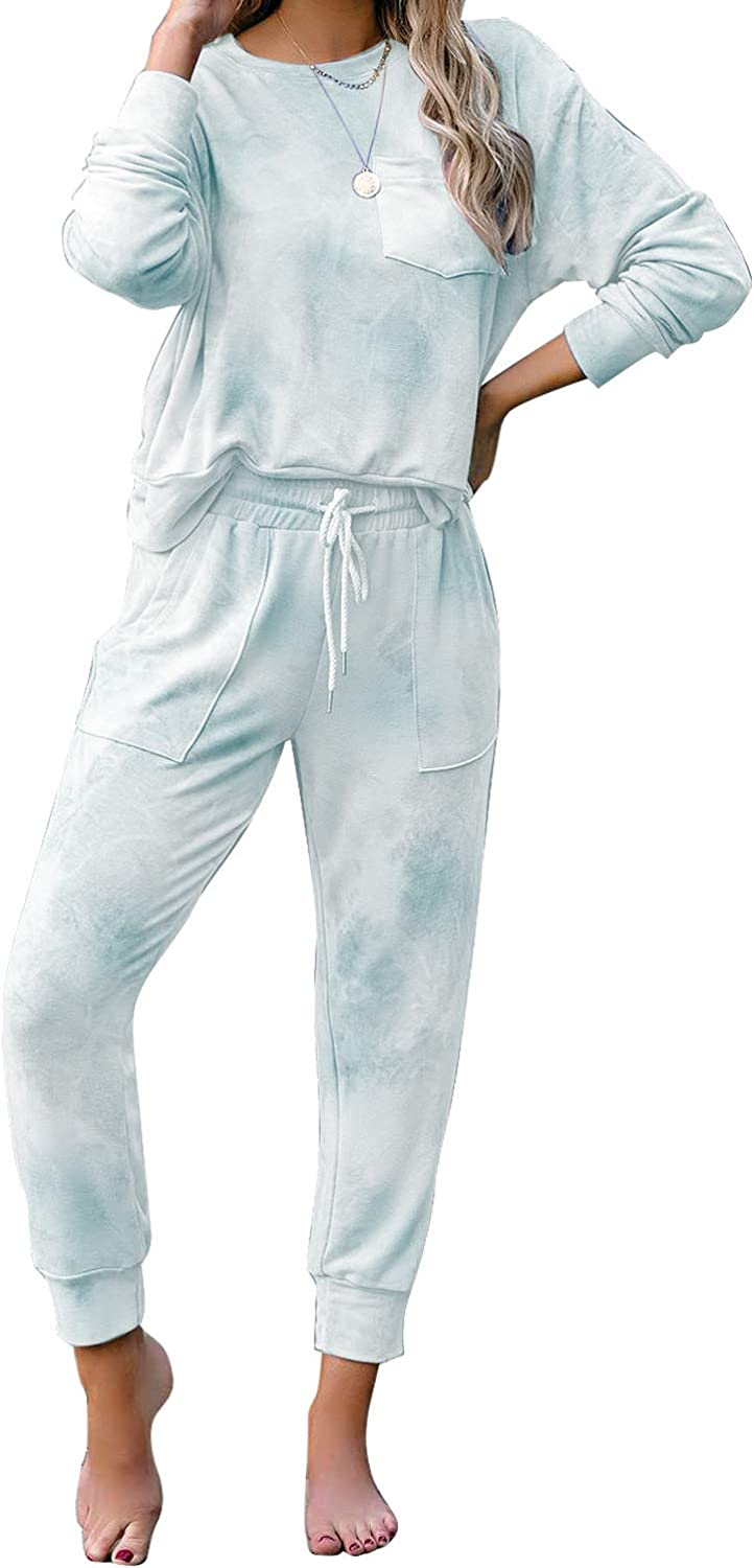 Year-end annual account LookbookStore Women's Cozy Tie Dye Challenge the lowest price Loungewear Two Knit P Printed